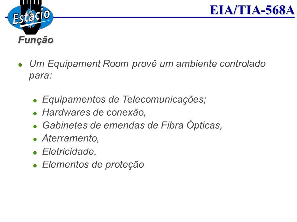 EIA/TIA-568AFunção Um Equipament Room provê um ambiente controlado para: Equipamentos de Telecomunicações; Hardwares de conexão, Gabinetes de emendas
