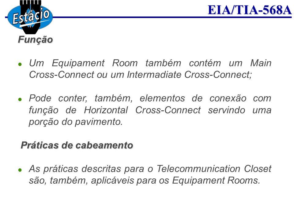 EIA/TIA-568AFunção Um Equipament Room também contém um Main Cross-Connect ou um Intermadiate Cross-Connect; Pode conter, também, elementos de conexão