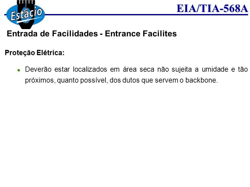 EIA/TIA-568A Proteção Elétrica: Deverão estar localizados em área seca não sujeita a umidade e tão próximos, quanto possível, dos dutos que servem o b