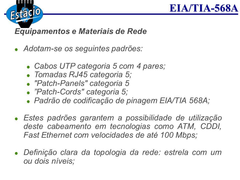EIA/TIA-568A Equipamentos e Materiais de Rede Adotam-se os seguintes padrões: Cabos UTP categoria 5 com 4 pares; Tomadas RJ45 categoria 5;