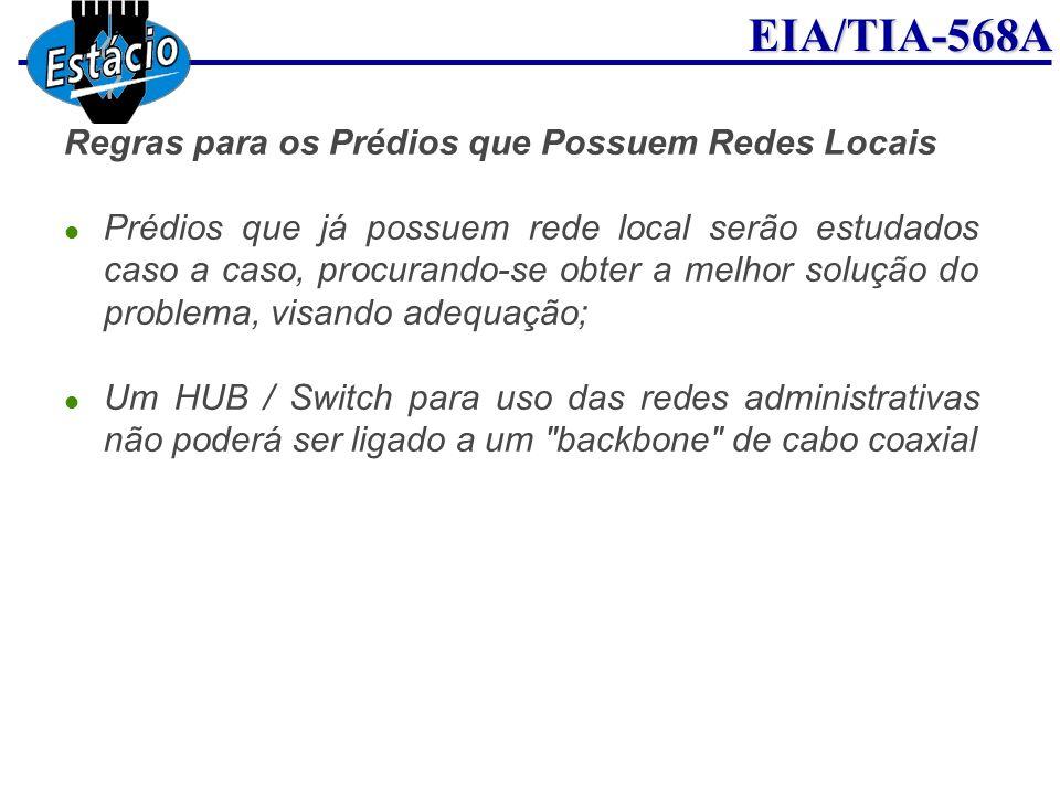 EIA/TIA-568A Regras para os Prédios que Possuem Redes Locais Prédios que já possuem rede local serão estudados caso a caso, procurando-se obter a melh