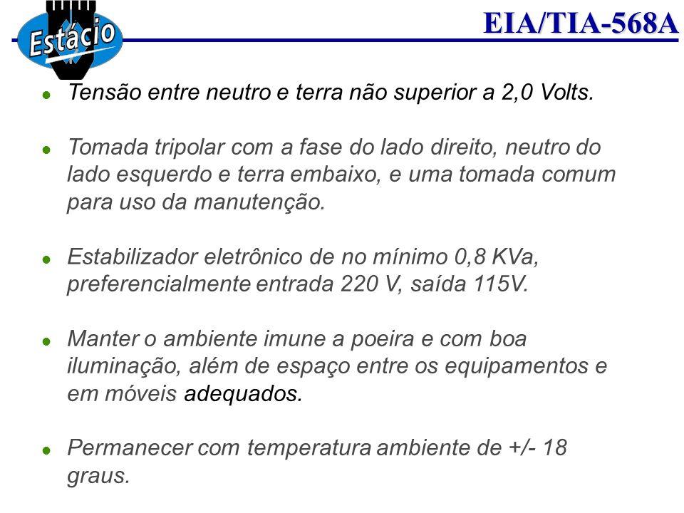 EIA/TIA-568A Tensão entre neutro e terra não superior a 2,0 Volts. Tomada tripolar com a fase do lado direito, neutro do lado esquerdo e terra embaixo