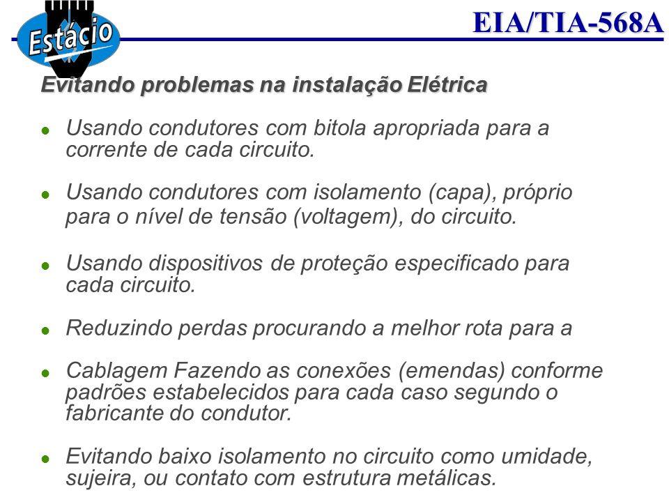 EIA/TIA-568A Evitando problemas na instalação Elétrica Usando condutores com bitola apropriada para a corrente de cada circuito. Usando condutores com