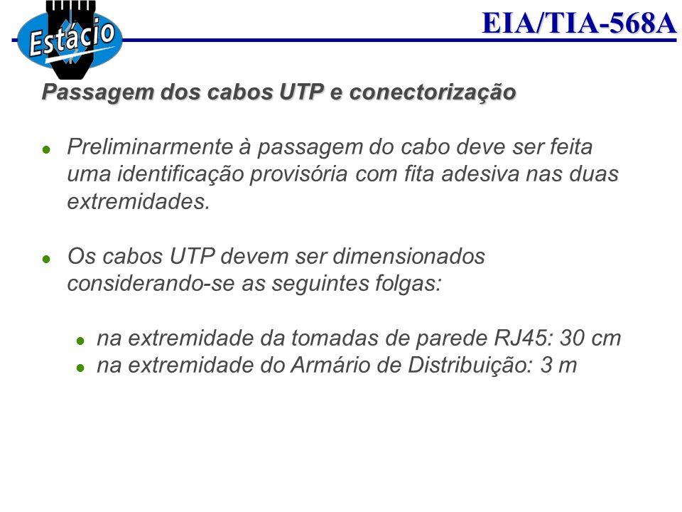 EIA/TIA-568A Passagem dos cabos UTP e conectorização Preliminarmente à passagem do cabo deve ser feita uma identificação provisória com fita adesiva n