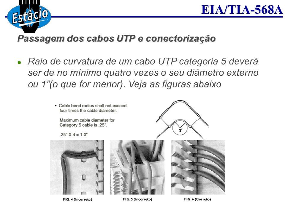 EIA/TIA-568A Passagem dos cabos UTP e conectorização Raio de curvatura de um cabo UTP categoria 5 deverá ser de no mínimo quatro vezes o seu diâmetro