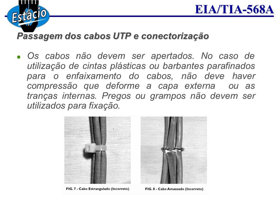 EIA/TIA-568A Passagem dos cabos UTP e conectorização Os cabos não devem ser apertados. No caso de utilização de cintas plásticas ou barbantes parafina