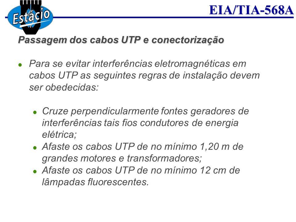 EIA/TIA-568A Passagem dos cabos UTP e conectorização Para se evitar interferências eletromagnéticas em cabos UTP as seguintes regras de instalação dev