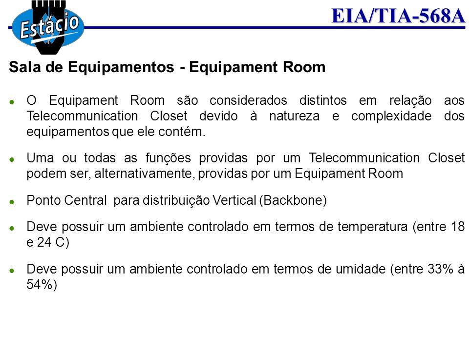 EIA/TIA-568A Sala de Equipamentos - Equipament Room O Equipament Room são considerados distintos em relação aos Telecommunication Closet devido à natu