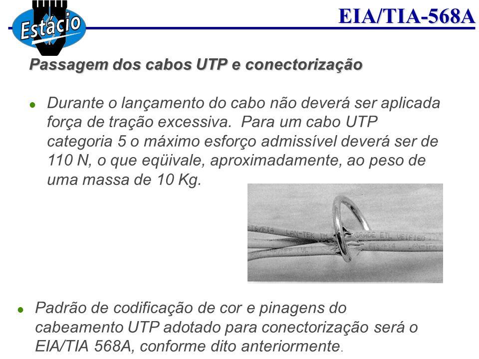 EIA/TIA-568A Passagem dos cabos UTP e conectorização Durante o lançamento do cabo não deverá ser aplicada força de tração excessiva. Para um cabo UTP