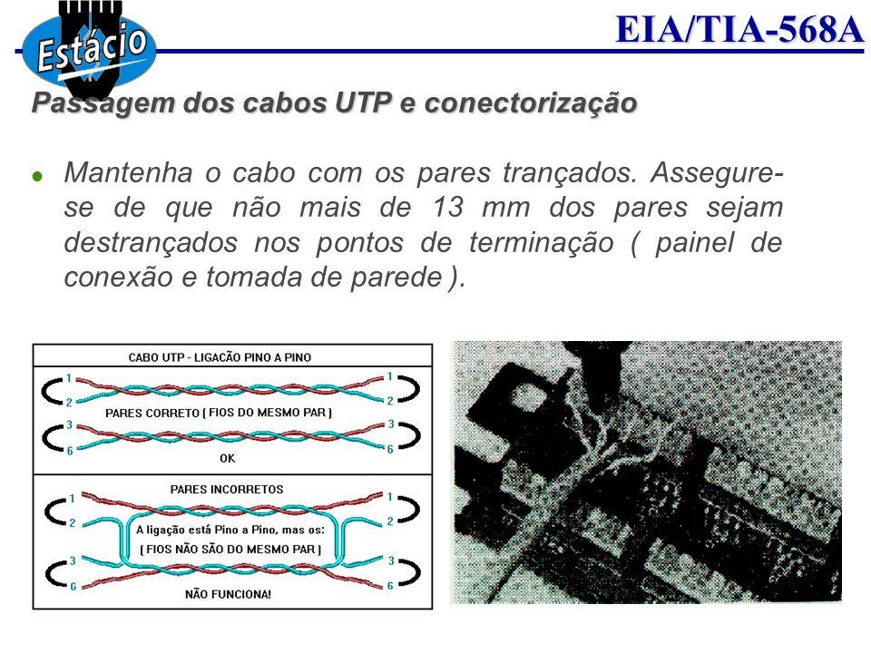 EIA/TIA-568A Passagem dos cabos UTP e conectorização Mantenha o cabo com os pares trançados. Assegure- se de que não mais de 13 mm dos pares sejam des