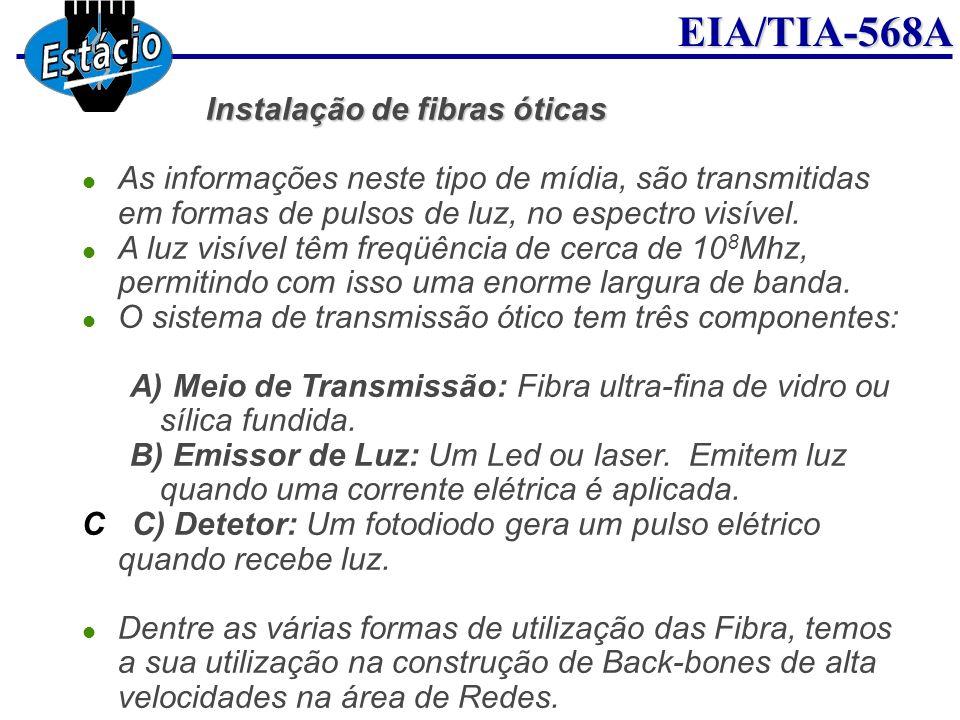 EIA/TIA-568A Instalação de fibras óticas Instalação de fibras óticas As informações neste tipo de mídia, são transmitidas em formas de pulsos de luz,