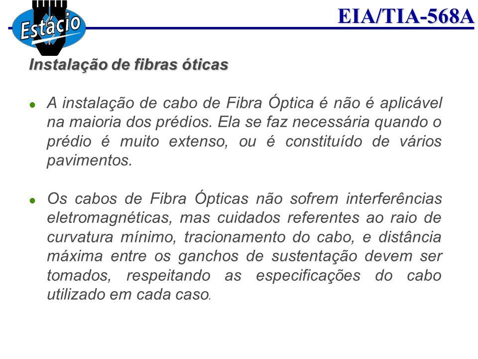 EIA/TIA-568A Instalação de fibras óticas A instalação de cabo de Fibra Óptica é não é aplicável na maioria dos prédios. Ela se faz necessária quando o