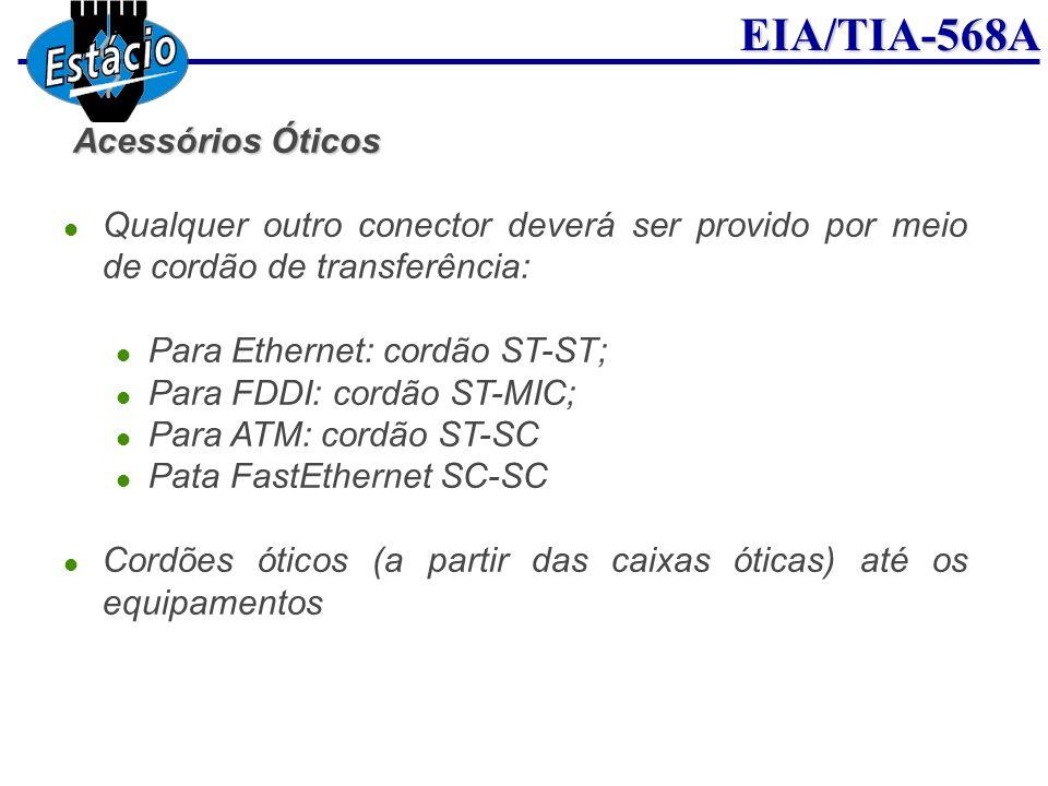 EIA/TIA-568A Acessórios Óticos Qualquer outro conector deverá ser provido por meio de cordão de transferência: Para Ethernet: cordão ST-ST; Para FDDI: