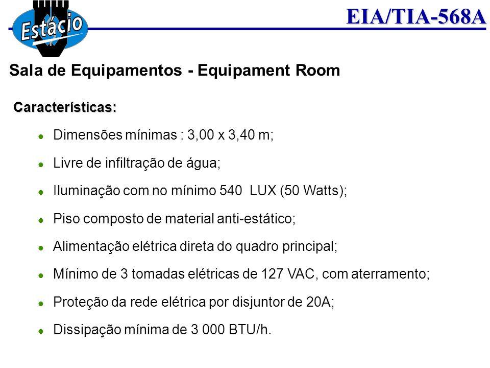 EIA/TIA-568ACaracterísticas: Dimensões mínimas : 3,00 x 3,40 m; Livre de infiltração de água; Iluminação com no mínimo 540 LUX (50 Watts); Piso compos