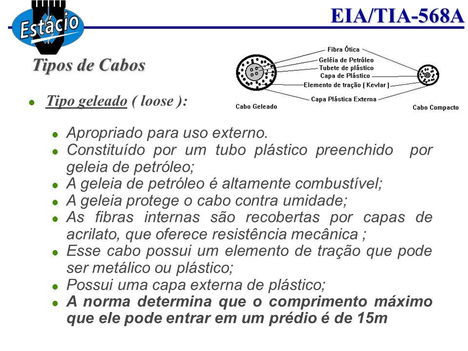 EIA/TIA-568A Tipos de Cabos Tipo geleado ( loose ): Apropriado para uso externo. Constituído por um tubo plástico preenchido por geleia de petróleo; A