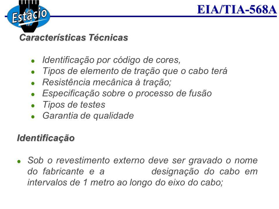 EIA/TIA-568A Características Técnicas Identificação por código de cores, Tipos de elemento de tração que o cabo terá Resistência mecânica à tração; Es