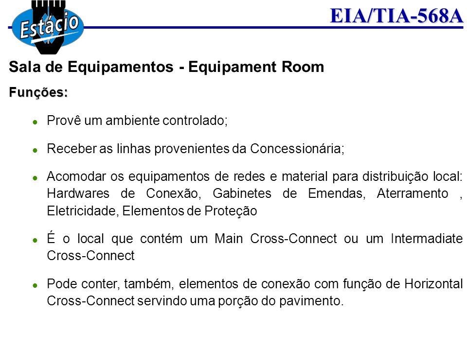 EIA/TIA-568AFunções: Provê um ambiente controlado; Receber as linhas provenientes da Concessionária; Acomodar os equipamentos de redes e material para