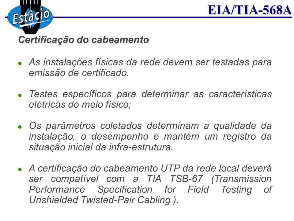 EIA/TIA-568A Certificação do cabeamento As instalações físicas da rede devem ser testadas para emissão de certificado. Testes específicos para determi