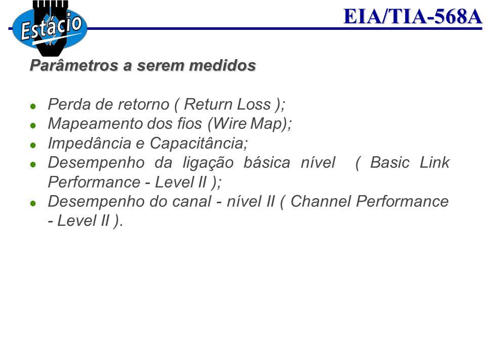EIA/TIA-568A Parâmetros a serem medidos Perda de retorno ( Return Loss ); Mapeamento dos fios (Wire Map); Impedância e Capacitância; Desempenho da lig