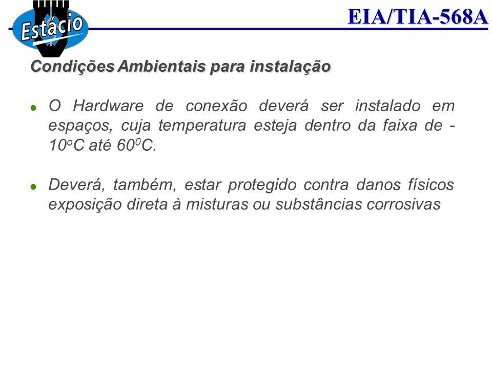EIA/TIA-568A Condições Ambientais para instalação O Hardware de conexão deverá ser instalado em espaços, cuja temperatura esteja dentro da faixa de -
