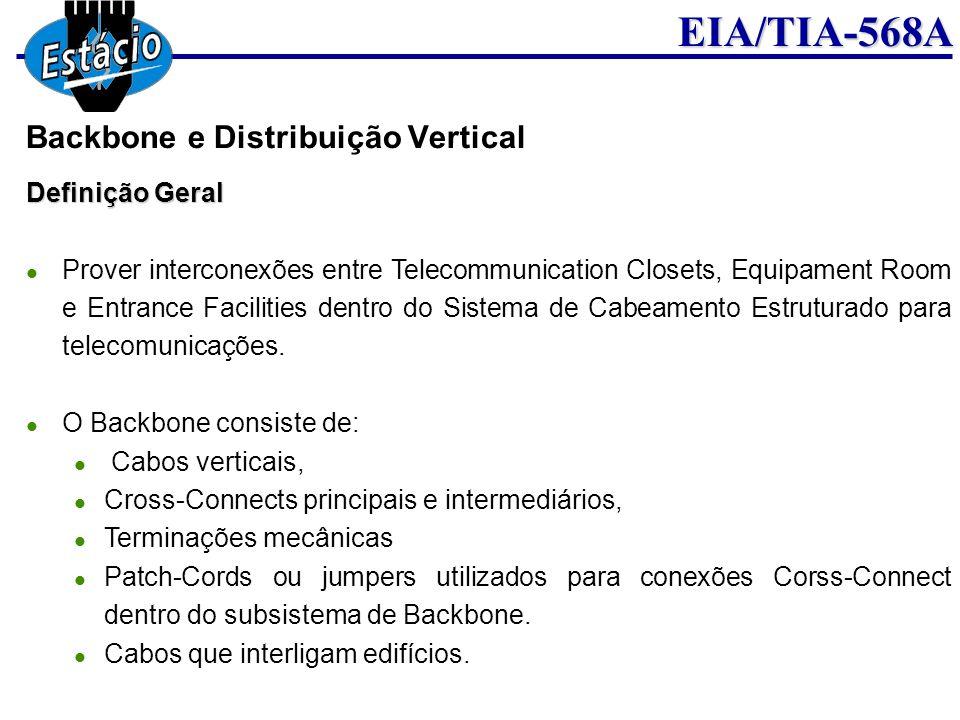 EIA/TIA-568A Definição Geral Prover interconexões entre Telecommunication Closets, Equipament Room e Entrance Facilities dentro do Sistema de Cabeamen
