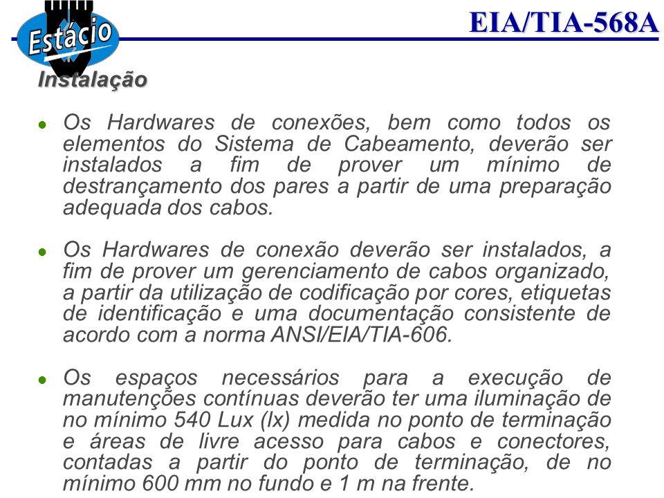 EIA/TIA-568AInstalação Os Hardwares de conexões, bem como todos os elementos do Sistema de Cabeamento, deverão ser instalados a fim de prover um mínim