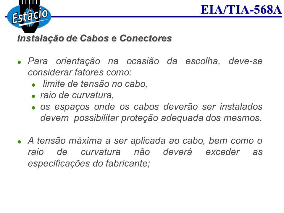 EIA/TIA-568A Instalação de Cabos e Conectores Para orientação na ocasião da escolha, deve-se considerar fatores como: limite de tensão no cabo, raio d