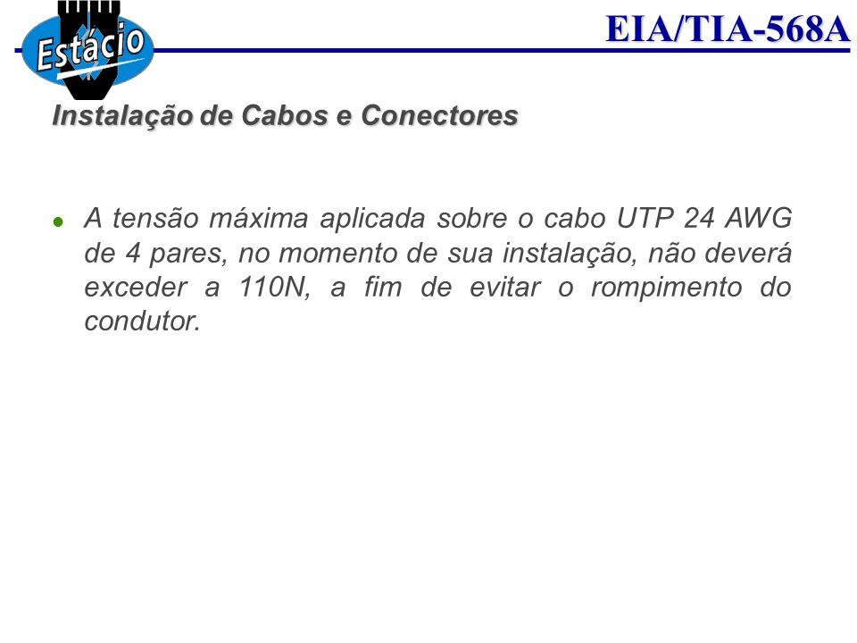 EIA/TIA-568A Instalação de Cabos e Conectores A tensão máxima aplicada sobre o cabo UTP 24 AWG de 4 pares, no momento de sua instalação, não deverá ex