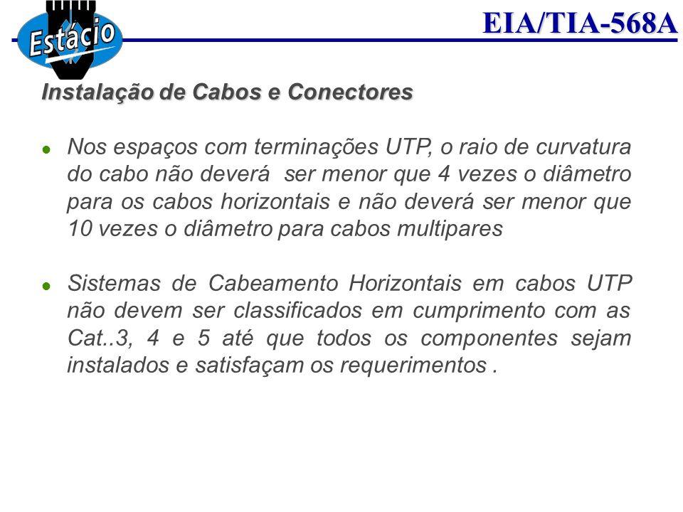 EIA/TIA-568A Instalação de Cabos e Conectores Nos espaços com terminações UTP, o raio de curvatura do cabo não deverá ser menor que 4 vezes o diâmetro
