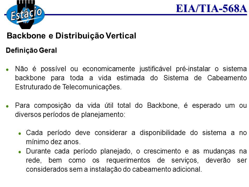 EIA/TIA-568A Definição Geral Não é possível ou economicamente justificável pré-instalar o sistema backbone para toda a vida estimada do Sistema de Cab