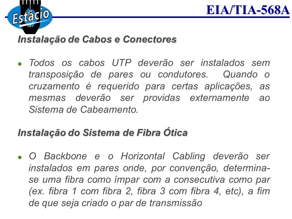 EIA/TIA-568A Todos os cabos UTP deverão ser instalados sem transposição de pares ou condutores. Quando o cruzamento é requerido para certas aplicações