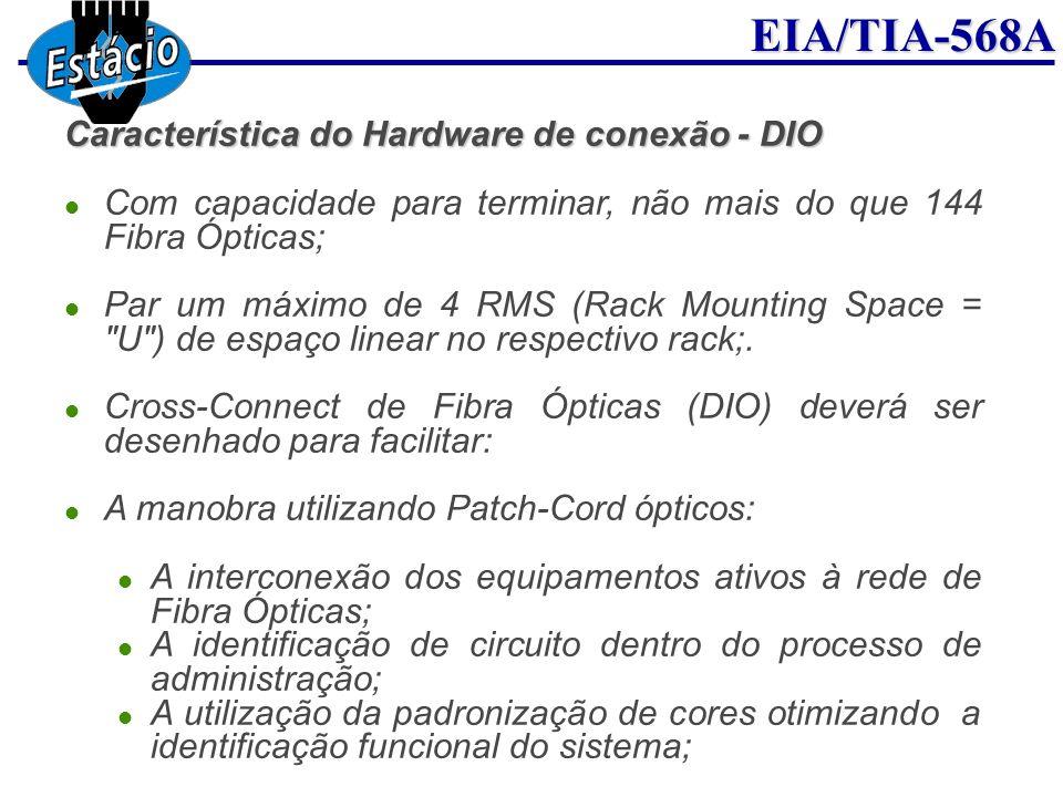 EIA/TIA-568A Característica do Hardware de conexão - DIO Com capacidade para terminar, não mais do que 144 Fibra Ópticas; Par um máximo de 4 RMS (Rack