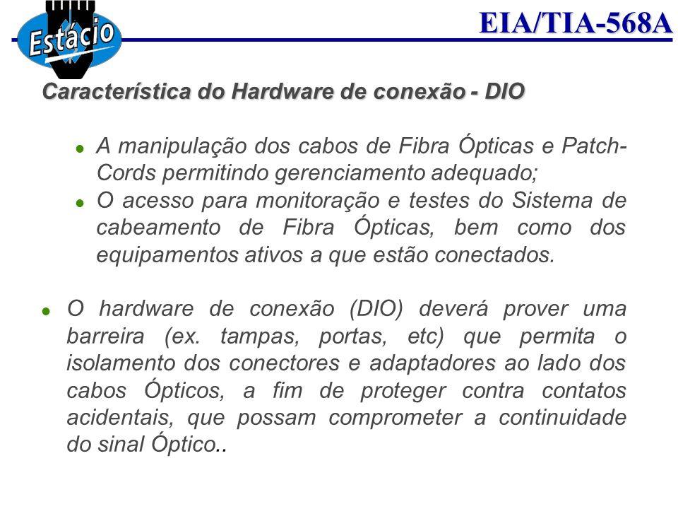 EIA/TIA-568A Característica do Hardware de conexão - DIO A manipulação dos cabos de Fibra Ópticas e Patch- Cords permitindo gerenciamento adequado; O