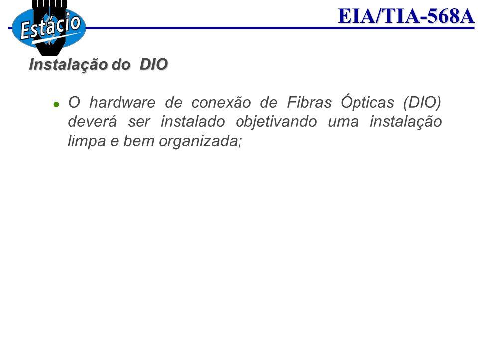 EIA/TIA-568A Instalação do DIO O hardware de conexão de Fibras Ópticas (DIO) deverá ser instalado objetivando uma instalação limpa e bem organizada;