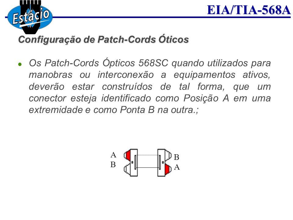 EIA/TIA-568A Configuração de Patch-Cords Óticos Os Patch-Cords Ópticos 568SC quando utilizados para manobras ou interconexão a equipamentos ativos, de