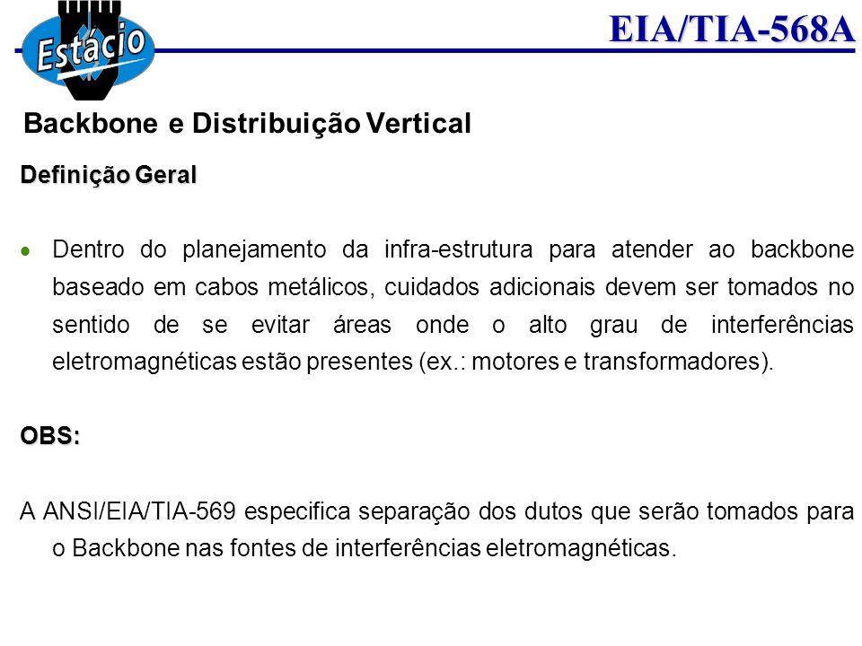 EIA/TIA-568A Definição Geral Dentro do planejamento da infra-estrutura para atender ao backbone baseado em cabos metálicos, cuidados adicionais devem