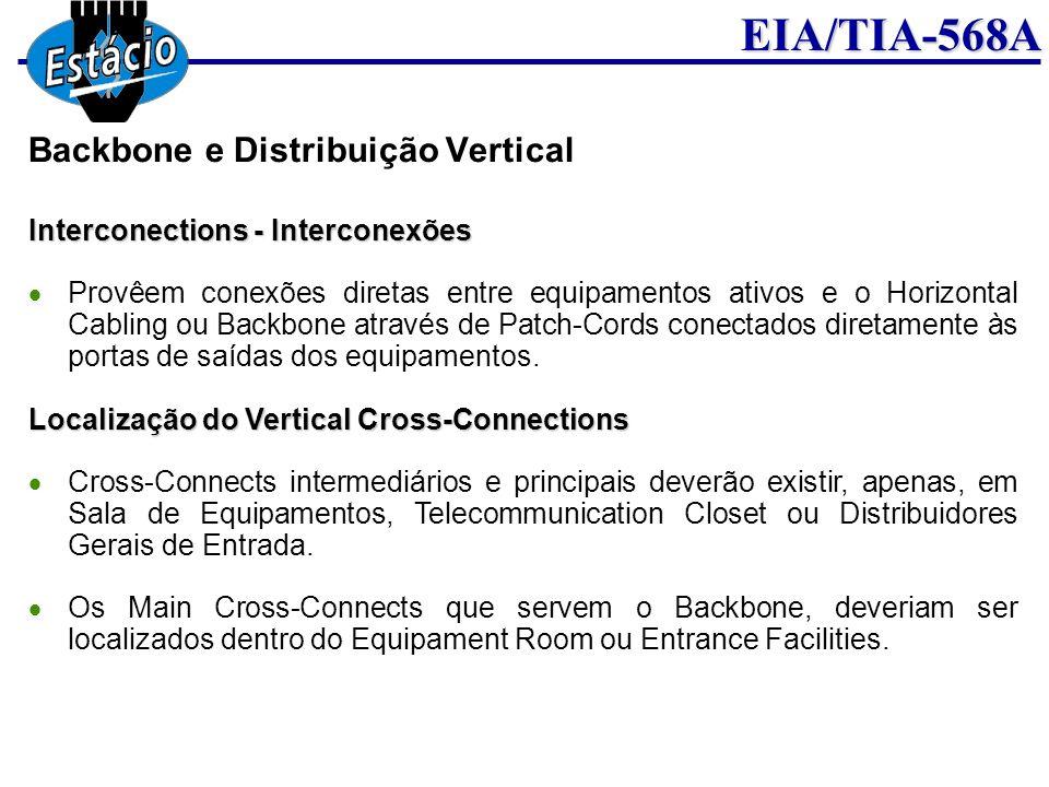 EIA/TIA-568A Interconections - Interconexões Provêem conexões diretas entre equipamentos ativos e o Horizontal Cabling ou Backbone através de Patch-Co