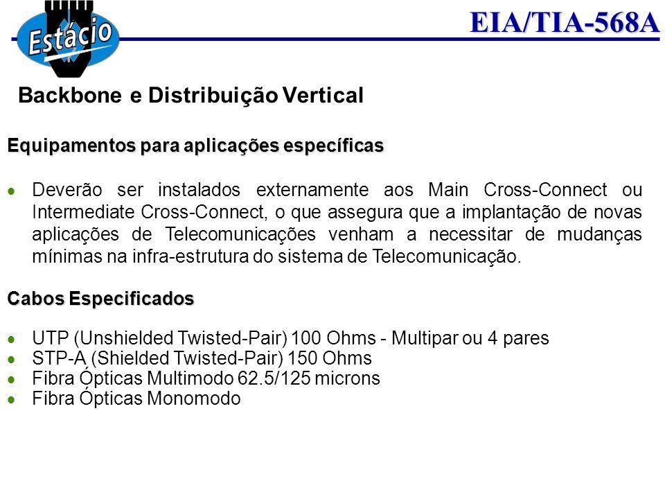 EIA/TIA-568A Equipamentos para aplicações específicas Deverão ser instalados externamente aos Main Cross-Connect ou Intermediate Cross-Connect, o que