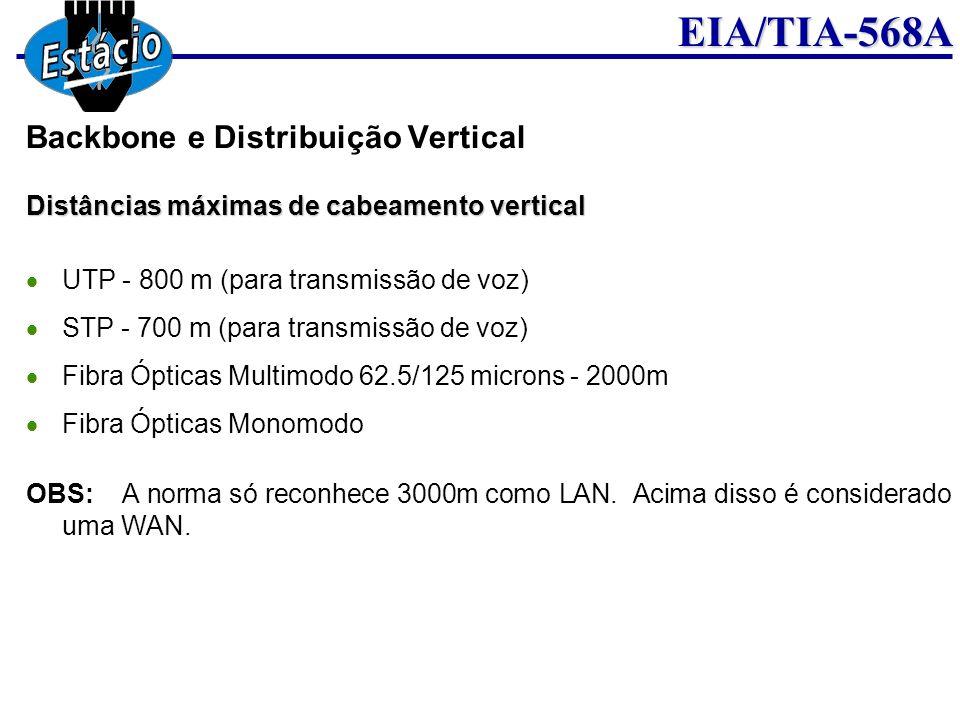 EIA/TIA-568A Distâncias máximas de cabeamento vertical UTP - 800 m (para transmissão de voz) STP - 700 m (para transmissão de voz) Fibra Ópticas Multi