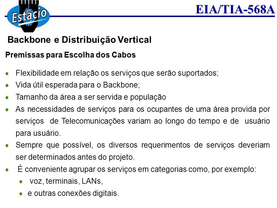 EIA/TIA-568A Premissas para Escolha dos Cabos Flexibilidade em relação os serviços que serão suportados; Vida útil esperada para o Backbone; Tamanho d