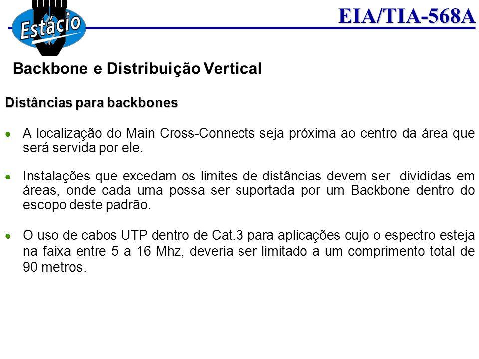 EIA/TIA-568A Distâncias para backbones A localização do Main Cross-Connects seja próxima ao centro da área que será servida por ele. Instalações que e