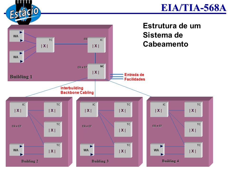EIA/TIA-568A Esquema básico de um Sistema de Cabeamento Entrada de facilidades da rede externa Sala de Equipamentos (Equipament Room); Cabeamento Tronco (Vertical); Armário de Distribuição ou Caixa do andar (Telecommunication Closet); Cabeamento Horizontal (Horizontal Cabling); Área de Trabalho ou Cômodo do apartamento(Work Area).