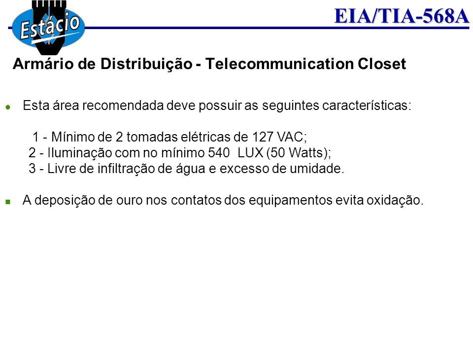 EIA/TIA-568A Esta área recomendada deve possuir as seguintes características: 1 - Mínimo de 2 tomadas elétricas de 127 VAC; 2 - Iluminação com no míni