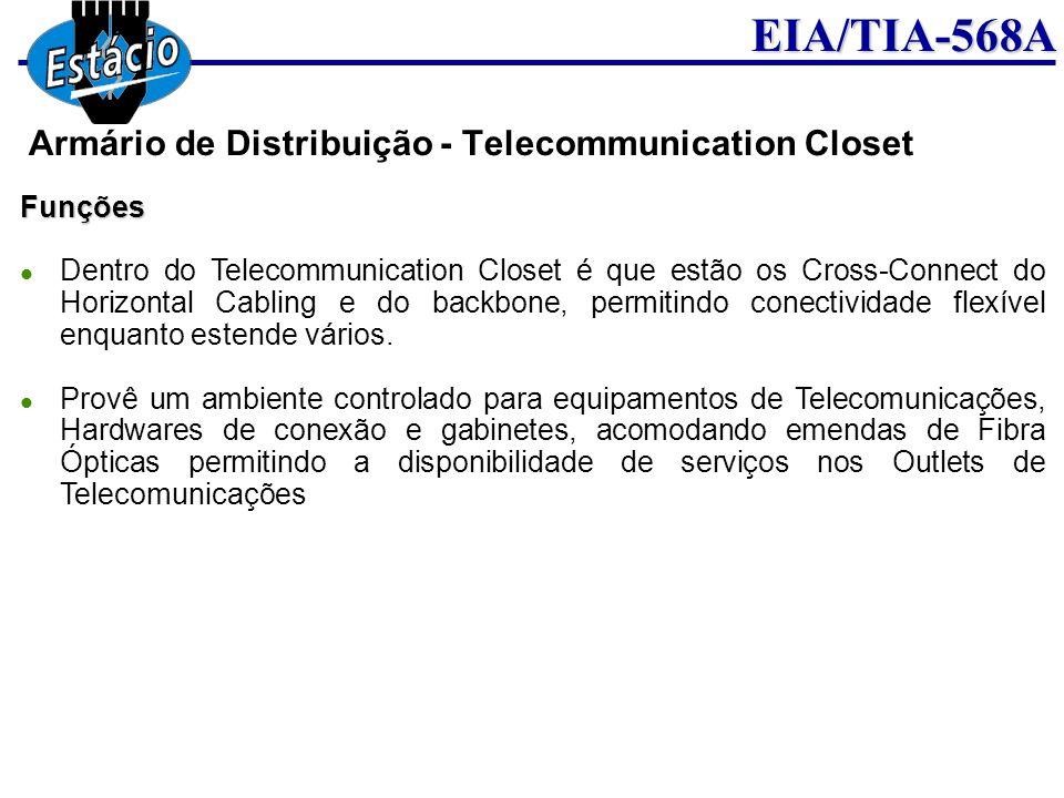EIA/TIA-568AFunções Dentro do Telecommunication Closet é que estão os Cross-Connect do Horizontal Cabling e do backbone, permitindo conectividade flex