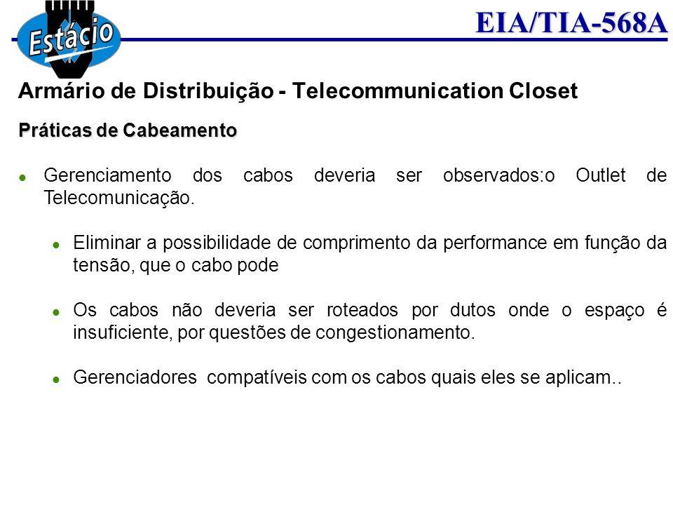 EIA/TIA-568A Práticas de Cabeamento Gerenciamento dos cabos deveria ser observados:o Outlet de Telecomunicação. Eliminar a possibilidade de compriment