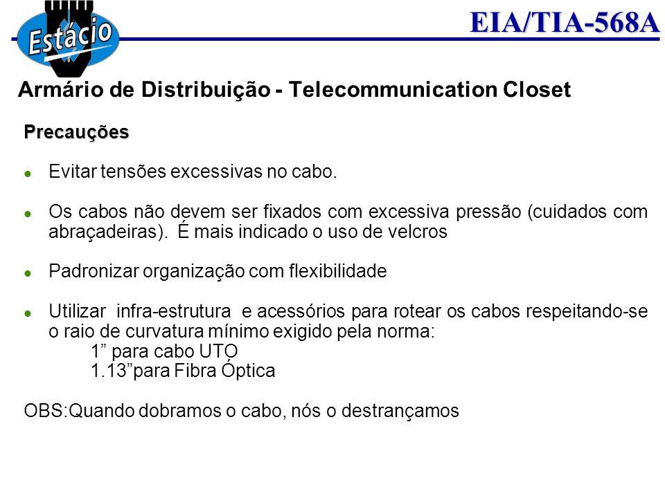 EIA/TIA-568APrecauções Evitar tensões excessivas no cabo. Os cabos não devem ser fixados com excessiva pressão (cuidados com abraçadeiras). É mais ind