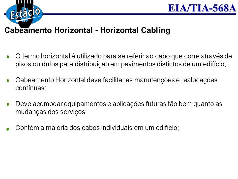 EIA/TIA-568A O termo horizontal é utilizado para se referir ao cabo que corre através de pisos ou dutos para distribuição em pavimentos distintos de u