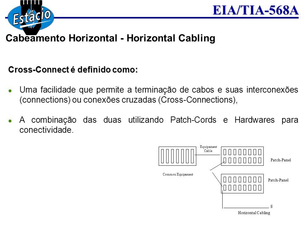 EIA/TIA-568A Cross-Connect é definido como: Uma facilidade que permite a terminação de cabos e suas interconexões (connections) ou conexões cruzadas (