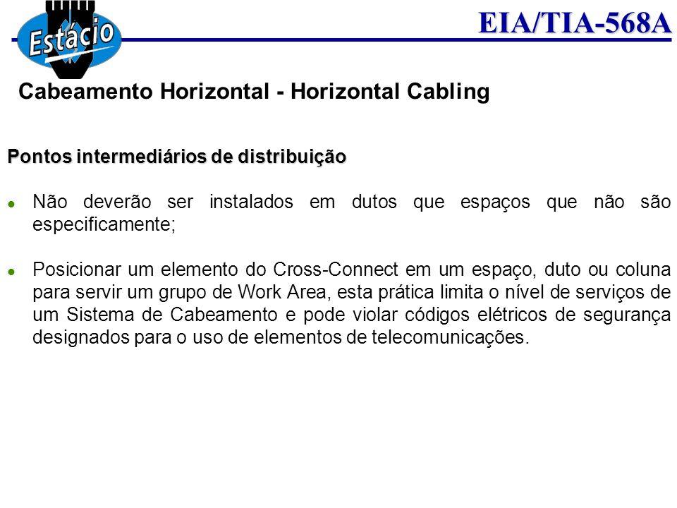 EIA/TIA-568A Pontos intermediários de distribuição Não deverão ser instalados em dutos que espaços que não são especificamente; Posicionar um elemento