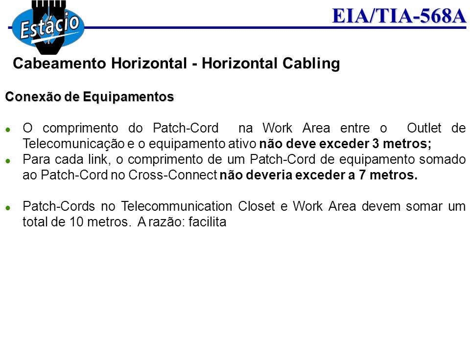 EIA/TIA-568A Conexão de Equipamentos O comprimento do Patch-Cord na Work Area entre o Outlet de Telecomunicação e o equipamento ativo não deve exceder
